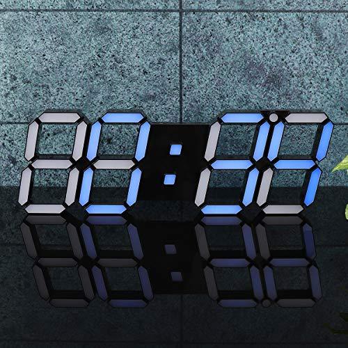 DyNamic 39×13×2.2Cm 3D Digital Led Wall Clock Alarm Watch Temperatur Moderne Usb-Fernbedienung - Das Schwarz