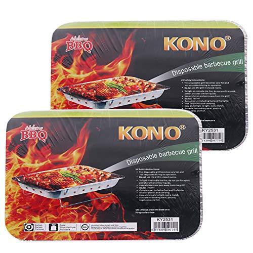 Kono Barbacoa ligera desechable plegable instantánea, parrilla de carbón al aire libre (paquete de 2, pequeño)