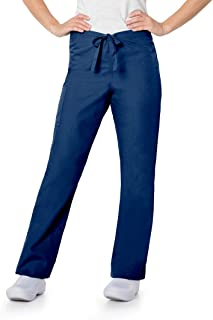 Landau Women's Zone Unisex Relaxed Fit 2-Pocket Drawstring Cargo Scrub Pants 85221, Navy, XL