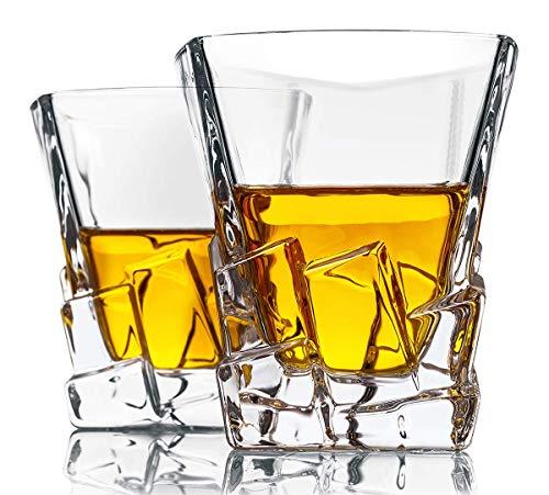 NBWS 220ml On The Rocks Whisky-Brille - Starkes und perfekt gewichtetes Quadrat Stilvolle und Elegante altmodische kristallklare Whisky-Eisbecher Geschenkset Diamond Iceberg Design, 2-TLG
