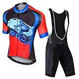 SUDUSUDO Men's Cycling Jersey Set Bike Shirts Short Sleeve Breathable Cycling Clothing Bib Shorts with 20D Gel Padded