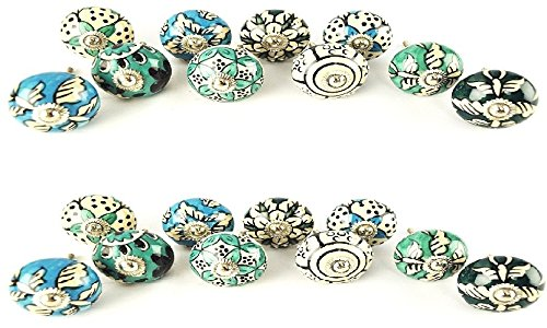 JGARTS 20 Ornate Aqua Blue Green Assorted Colour Floral Ceramic Knobs for Cabinets & Cupboards - Hand Painted Pulls
