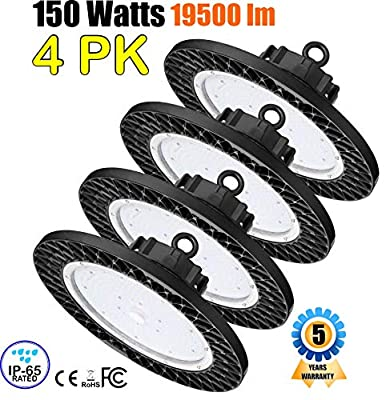 GENPAR 150W 4PK UFO LED Shop High Bay Light 800W HPS/MH Equivalent 19500LM lumens Daylight White 6000-6500K IP65 Waterproof Warehouse Lighting Fixture Commercial Lighting Factory Industrial Shopping