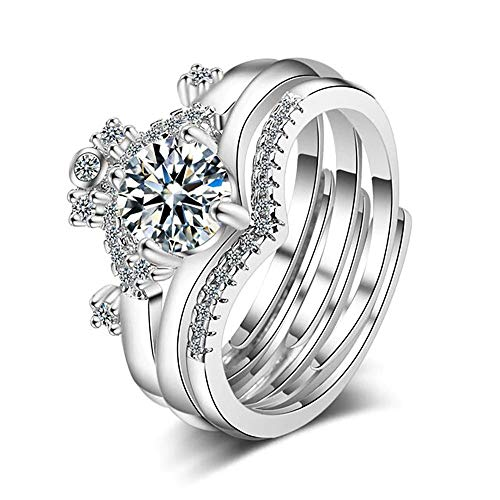 24 JOYAS Anillo Ajustable Corona Multicapa de Amor en Plata de Ley 925 y circonitas 5A para Mujer, Boda, Compromiso, Aniversario o Regalo romántico