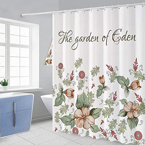 Peng Sounder-hm Duschvorhänge Polyester Duschvorhang Dekorative Blumen Bedruckt Badezimmer Vorhänge Wasserdicht Schimmelfest Antibakteriell Badvorhang für Badezimmer, weiß, 150x180cm