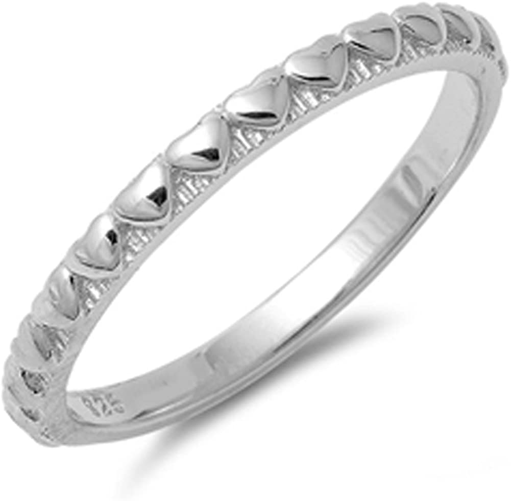 Women's Heart Cheap super special price Love Band Promise Ring Sil New Sterling Solid Complete Free Shipping .925