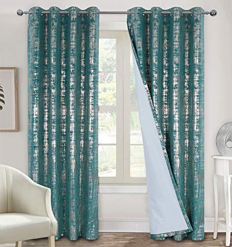 always4u Cortinas de terciopelo suave 100% opacas para dormitorio, cortinas térmicas estampadas, cortinas de lujo brillantes para sala de estar, 1 par 66 x 54