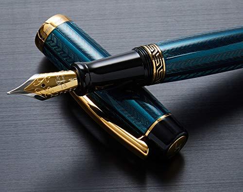 Xezo maestro Legrand diamantato placcato oro 18K penna stilografica a tratto fine, laccata–Dioptase colore