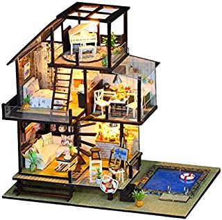S&Y Mini Doll House with Furniture, DIY Wooden Doll House kit, Villa-Style with LED and Music Movement, Creative Room with...