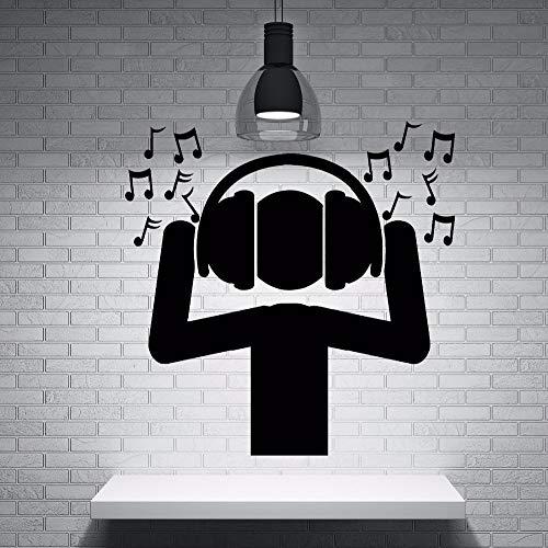 jiushivr Schwarz Ungiftig PVC Material Wandaufkleber Fan DJ Musik Kopfhörer Schallwellen Notizen Wandaufkleber Home Music Party Decor 54x55cm