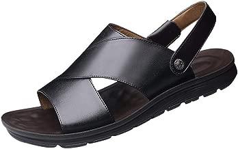 Sandales Hommes Cuir Sandales De Plage,Tongs Hommes Talon Plat D/ét/é Sandales M/âles Pantoufles Hommes Cuir Sandales Confortables /à Fond Souple Sandales Respirantes