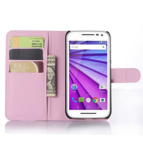 Ycloud Tasche für Motorola Moto G 3 Generation Hülle, PU Ledertasche Flip Cover Wallet Hülle Handyhülle mit Stand Function Credit Card Slots Bookstyle Purse Design rosa