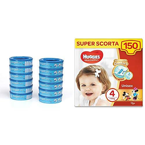 Foppapedretti Ricarica per Maialino, 12 Pezzi + Huggies Pannolini Ultra Comfort, Taglia 4 (7-18 Kg), Confezione da 150 Pannolini