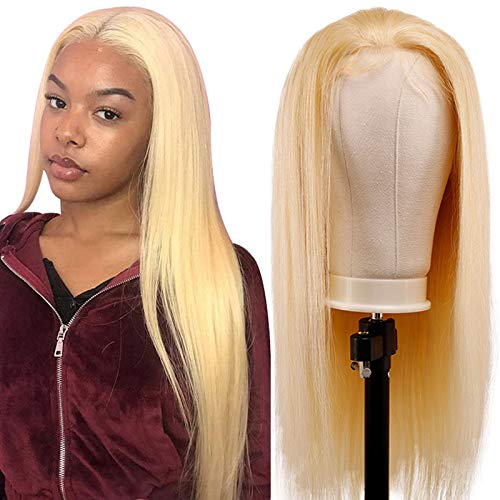 TUNEFUL 613 Blonde Straight Human Hair Lace Front Wigs 100% Brazilian Virgin Human Hair Wigs for Black Women 150% Density Pre-plucked with Baby Hair 13x4 Swiss Lace Front Wigs (24 Inch, Blonde Wigs)