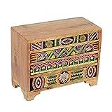 Casa Moro   Bagira Oriental Mini-Commode 28x13x22cm (A/P/A) de madera real con 4 cajones de colores  Caja de madera pintada a mano en estilo africano   Decoración original de la idea del regalo  RK106