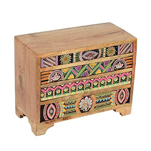 Casa Moro Mini-Kommode Bagira 28x13x22 cm (B/T/H) aus Echtholz mit 4 bunten Schubladen | Handbemaltes Holz-Kästchen im afrikanischen Stil | Originelle Geschenk-Idee orientalische Deko Bagira RK106
