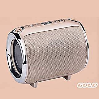 Portable Wireless Bluetooth Speaker w/Strap HD Voice Prompt Small Loudspeaker for Car Outdoors Travel (Gold)