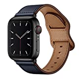 KYISGOS Compatible with iWatch Band 44mm 42mm, Genuine Leather Replacement Band Strap Compatible with Apple Watch Series 6 5 4 3 2 1 SE 42mm 44mm, Dark Blue Band with Black Adapter