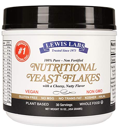 Lewis Labs Nutritional Yeast 1 POUND MEGA PACK-Mini Flakes -100% Pure,NON-Fortified, NON-GMO, Vegan, Kosher - Whole Food -Plant Based Protein, Vitamin B Complex, 18 Amino Acids- Delicious Taste