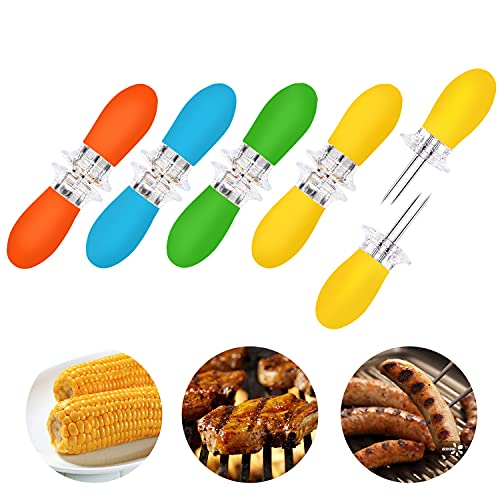 AUGSUN 10Pcs/5 Pairs Corn Holders, Stainless Steel Corn on The Cob BBQ Fork Skewers for Home Cooking Parties Camping