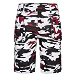 UOFOCO Men's Camouflage Multi-Pocket Overalls Shorts (Medium,Red)