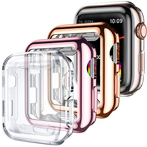 Oielai Funda Compatible con Apple Watch Protector Series 1/2/3 38mm, Paquete de 4 Fundas Protectora TPU Cobertura Total Compatibles para Apple Watch Series 1 2 3, Claro/Claro/Oro Rosa/Rosa