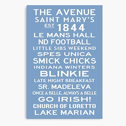 Marys Notre Saint Irish College Custom Dame Sign Personalized Subway Art Blue Go Canvas Wall Art for Living Room Bedroom Kitchen Dinning Room Office Home Decor