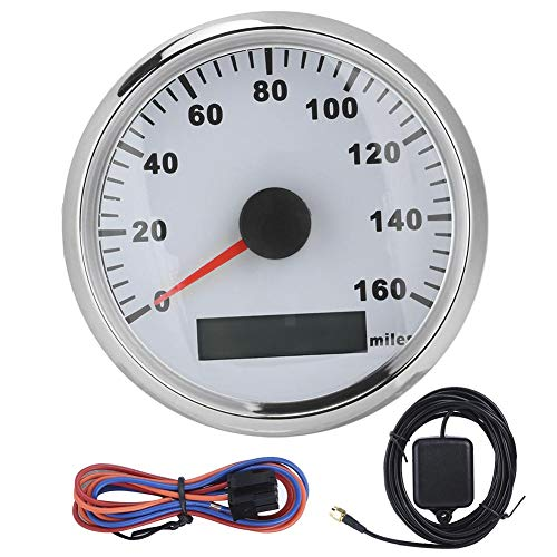Velocímetro GPS Impermeable para motocicleta, 85 mm / 3.3 pulgadas Velocímetro GPS universal Impermeable Antivaho 316L Cubierta frontal 0-160MPH(Marco plateado sobre blanco)