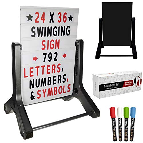 Swinging Changeable Message Sidewalk Sign: 24' x 36' Sign with 792 Pre-Cut Double Sided Letters and Storage Box. Includes Black Sign Board & 4 Liquid Chalkboard & Letter Board