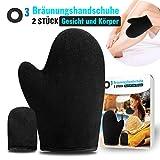 O³ - Guanti abbronzanti + applicatore per dita in velluto di alta qualità, autoabbronzante, auto-abbronzante, guanti da applicare su viso e corpo