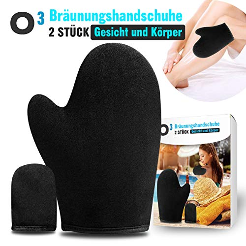 O³ Bräunungshandschuh + Finger Applikator aus hochwertigem Samt // Selbstbräuner Handschuhe // Self Tanning Mitt – Applikatorhandschuh Gesicht und Körper