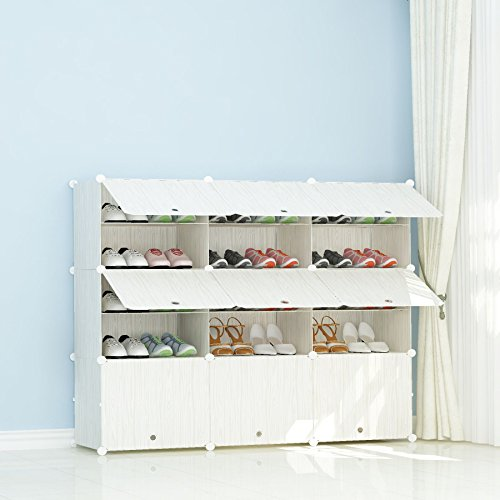 JOISCOPE Portable Shoe Storage Organzier Tower, Modular Shoe Cabinet for Space Saving, Shoe Racks Ideal for Shoes, Boots, Slippers,3/5