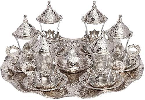 Juego de 6 vasos de té turcos tradicionales con soporte para platillos (plateado)