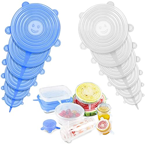 EAYIRA 12 Pcs Silicone Stretch Lids, Various Sizes Durable Food Bowl Cover, Expandable Fresh-Keeping Cover (12 Pcs Set) (Color May Vary)