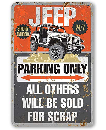 Fhdang Aluminium-Schild Jeep Parking Only Geschenk für Jeep Besitzer, Metall, Multi, 12x18 inches