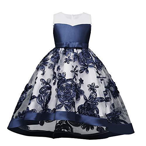 Proumy ◕ˇ∀ˇ◕Baby Kleid Spitze Prinzessin Taufe Cocktailparty Blume Bowknot Mädchen Prinzessin Kleid Brautjungfer Pageant Kleid Geburtstag Party Brautkleid (Dunkelblau,4T)