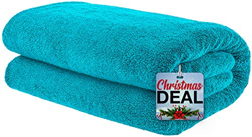 American Bath Towels, Soft & Absorbent Oversized 40x80 Ringspun Genuine Cotton 650 GSM Premium Hotel & Spa Quality Turkish Bath Sheet Towel, Aqua Blue