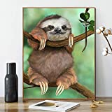 Kimily DIY Paint by Numbers for Adults Kids Sloth Paint by Numbers DIY Painting Acrylic Paint by Numbers Painting Kit Home Wall Living Room Bedroom Decoration Tree Sloth