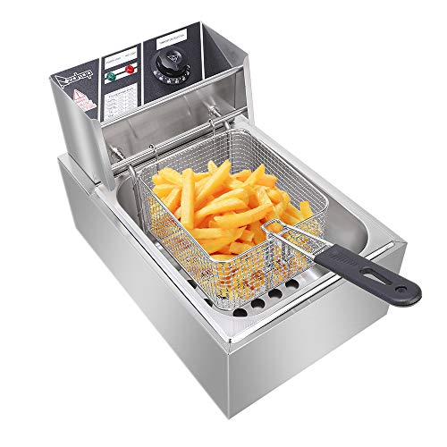 6L Stainless Steel Deep Fat Fryer with Thermostats and Filter Plate,...