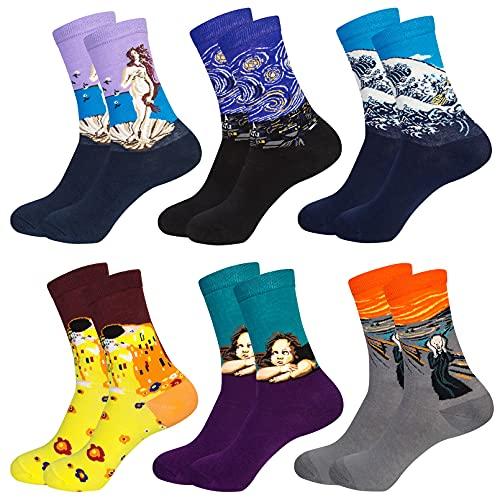 Chalier 6 Paar Lustige Kunst Socken Damen, Bunte Socken Baumwolle für Frauen mit Einzigartigen Ölgemälde Muster, Auffällige Design