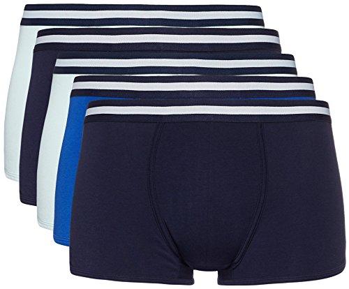 Amazon-Marke: find. Herren Boxershorts im 3er/5er/7er-Pack, Mehrfarbig (Navy X2, Wash Blue X2, Royal X1), XXL, Label: XXL