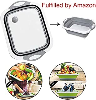 Multifunction Over The-Sink Cutting Board Collapsible Cutting Board with Dish Tub Foldable Dish Tub - Portable Washing Basin 3 In 1 Food Grade Plastic Chopping Board for Cut Vegetable, Drain Food Tray