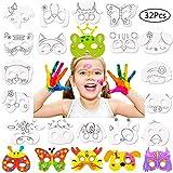 Gurxi Máscaras de Animales para Pintar Niños Diy Animal Cosplay Máscaras de Fiesta Fiesta Diy Niños Máscaras en Blanco Ideal para Cumpleaños y Carnaval para Niños 4 Juegos de 32 Piezas (Blanco)