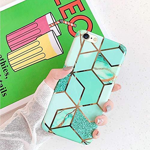 Herbests Kompatibel mit iPhone 8 Plus/iPhone 7 Plus Handyhülle Marmor Matt Marble Muster Schutzhülle Dünn Handytasche Glitzer Glänzend Ultradünn Transparent Durchsichtige Silikon Hülle Case,Grün