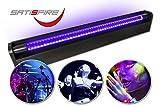 SATISFIRE® Schwarzlicht LED-UV-Röhre 60cm Komplettset | 10W High Power | ca. 30.000 Stunden...