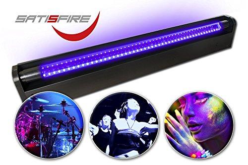 SATISFIRE® Schwarzlicht LED-UV-Röhre 60cm Komplettset | 10W High Power | ca. 30.000 Stunden Lebensdauer | bruchsicher | wechselbare Röhre | Blacklight