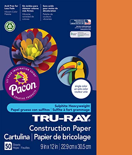"Tru-Ray Heavyweight Construction Paper, Pumpkin, 9"" x 12"", 50 Sheets"