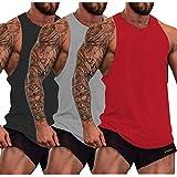 SZKANI Men Sleeveless Workout Shirt Stringers Bodybuilding Tank Tops 3 Pcs Fitness T-Shirt (Black,Gray,Red_3 Pcs, Large)