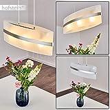 Pendelleuchte Avellino, Hängelampe oval aus Glas/Metal in Stahlfarben, 3-flammig, 3 x E27 je 60 Watt, moderne Hängeleuchte geeignet für LED Leuchtmittel