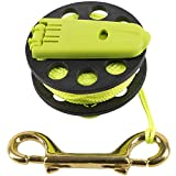 Trident Folding Handle Finger Reel with 45 Feet of Fluorescent Yellow Line